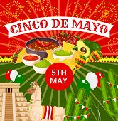 Cinco De Mayo Fiesta Celebration Greeting Card Design Of Tequila, Jalapeno Pepper Or Cactus And Guit poster