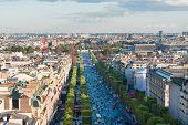 Cityscape Of Paris With Champ Elysees, Paris, France poster