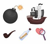 Pirate, Bandit, Ship, Sail .pirates Set Collection Icons In Cartoon Style Vector Symbol Stock Illust poster