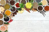 Herb and spice seasoning abstract background border with fresh and dried herbs and spices and olive  poster