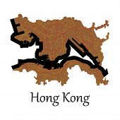 Flat Icon In Form Of Hongkong Map poster