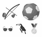 Brazil, Country, Ball, Football . Brazil Country Set Collection Icons In Monochrome Style Vector Sym poster