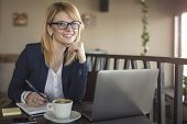 Business Woman Is Working On Computer, In A Coffee Shop, Restaurant. Charming Happy Woman Student Us poster