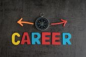 Company Career Path Opportunities Concept By Colorful Wooden Alphabets As Word Career And Compass Wi poster