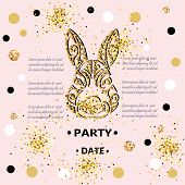 Bunny Head Isolated On Background With Golden Confetti. Rabbit Head As Baby Shower & Easter Logo, Pe poster