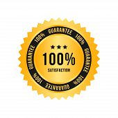 Golden Sign 100 Percent Satisfaction Guarantee. Flat Vector Illustration Eps 10 poster