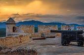 San Pedro De La Roca Fort Walls And Tower, Sunset View With Sea And Carribean Coastline, Santiago De poster