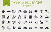 Picnic And Barbecue Web Icons. Set Of Black Symbols For A Summer Outdoor Recreation Theme. Vector Co poster