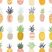 Seamless Pattern With Pineapples Of Different Color And Texture On White Background. Backdrop With E poster