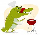 foto of australie  - Illustration of a cartoon crocodile having a BBQ party  - JPG