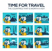 Set Of Flat Travel Icons With Different Countries, Cities, Landmarks Of World. Time For Travel. Coun poster