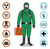 Man In Green Protective Suit In Flat Style. Dangerous Profession. Occupational Safety And Health Vec poster