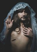 Jesus of Nazareth, representation of the Calvary of Jesus, son of God. He has the wound on his side  poster