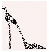pic of stiletto  - Cute retro fashion illustration of a stiletto heeled shoe isolated on white - JPG