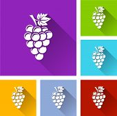 Bunch Of Grapes Icons With Long Shadow poster