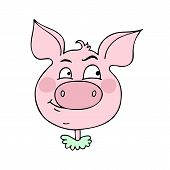 The Cute Pig Has An Expression Of Curiosity. Vector Illustration Of Cartoon Style poster