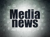 News Concept: Painted Black Text Media News On Digital Data Paper Background With  Hand Drawn News I poster