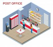 Isometric Post Office Concept. Young Man And Woman Waiting For A Parcel In A Post Office. Correspond poster