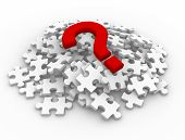 stock photo of question-mark  - Puzzle pieces and question mark - JPG