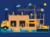 Vector Illustration Cartoon Characters Builders On A Construction Site Build A House Of Bricks. Work poster