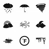 Climatic Icons Set. Simple Set Of 9 Climatic Vector Icons For Web Isolated On White Background poster