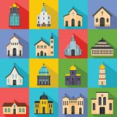 Church Building Icons Set. Flat Illustration Of 16 Church Building Vector Icons For Web poster