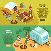 Expedition Travel Hiking 2 Horizontal Isometric Webpage Banners With Weekend Family Picnic Camping V poster