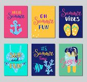 Summer Lettering Card. Hand Drawn Gift Tags, Banners And Labels With Fun Elements. Bright Summertime poster