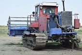 Combine Harvesters Agricultural Machinery Old Rusty Combine Harvester. Rice Header Combine Harvester poster