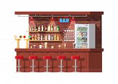 Drinking Establishment. Interior Of Pub, Cafe Or Bar. Bar Counter, Chairs And Shelves With Alcohol B poster