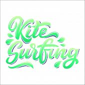 Water Extreme Sport Lettering Set In Graffiti Style Isolated On White Background: Kite, Surf, Wake.  poster