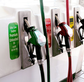 image of fuel pump  - Petrol pumps in red and green and diesel - JPG