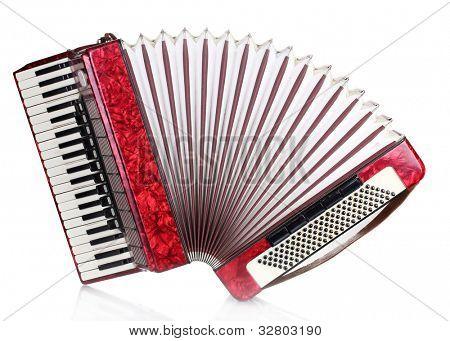 Retro accordion isolated on white
