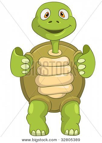 Cartoon Character Funny Turtle Isolated on White Background. Vector EPS 10.