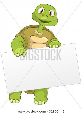 Cartoon Character Funny Turtle Isolated on White Background. Look Out. Vector EPS 10.