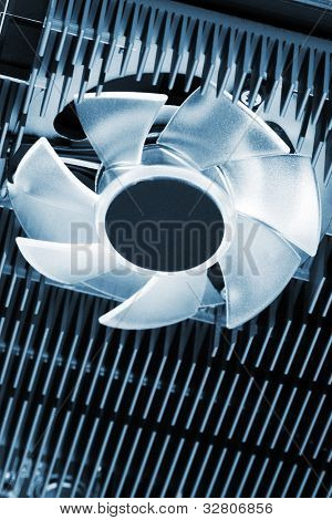 modern fan with heatsink close up