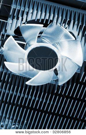modern fan with heatsink close up
