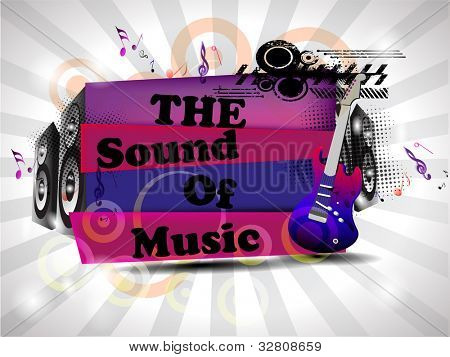Retro musical background with guitar and  text on floral rays  background. EPS 10. vector illustration.