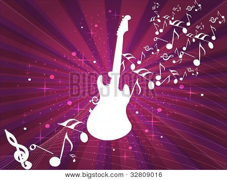 Retro musical background with guitar and musical notes on abstract rays and wave background for disco party and other events. EPS 10. vector illustration.