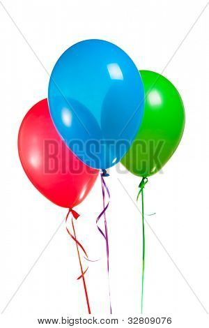 bunch of festive multicolor rgb balloons isolated on white