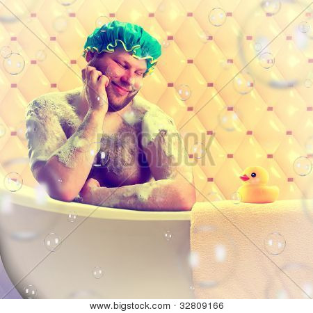 Romantic dreamer taking bath with toy duck