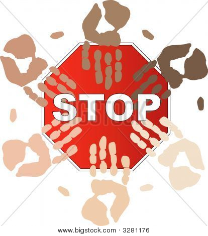 Stop Sign W Ethnic Hands