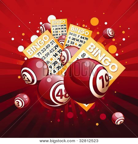 Bingo or lottery balls and cards on red background.