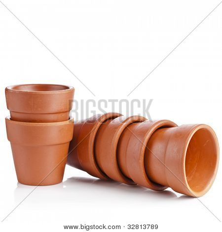 Clay flower pot isolated on white background