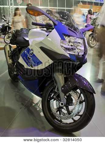 KIEV, UKRAINE - APRIL 29: A new BMW k 1300 s motorbike is on display at the International Specialized Exhibition,