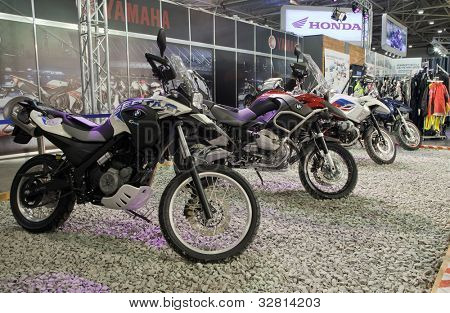 KIEV, UKRAINE - APRIL 29: A new BMW motorbike is on display at the International Specialized Exhibition,