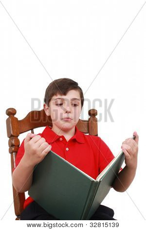 Boy reading a boring book