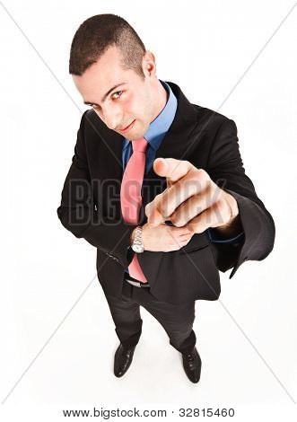 Funny man pointing his finger at you
