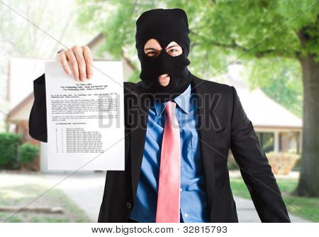 Thief businessman showing a document