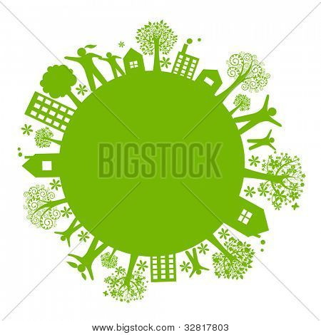 Green Eco Earth, Isolated On White Background, Vector Illustration